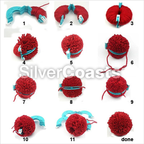 pompom makers 8 pieces 4 sizes pom poms knitting crafts bobble maker kit ebay. Black Bedroom Furniture Sets. Home Design Ideas